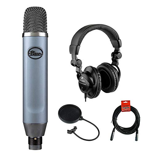 Price comparison product image Blue Ember Small Diaphragm Studio Condenser Microphone with Polsen HPC-A30 Monitor Headphones,  XLR Cable & Pop Filter Bundle