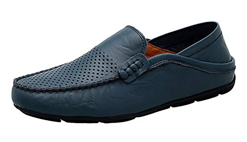 Go Tour Men's Premium Genuine Leather Casual Slip On Loafers Breathable Driving Shoes Fashion Slipper Blue Punched 11/47 ()