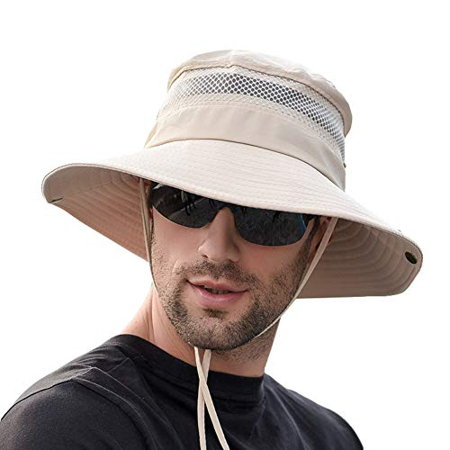 Inconly Unisex Wide Brim Sun Hat Outdoor Summer UV Protection Sun Caps UPF 50+ Waterproof Boonie Hat Breathable Foldable Men Hunting Hats Fishing Hats Walking Camping Grey Light Weight Khaki