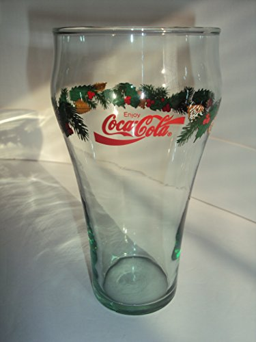 Vintage Libbey Coca Cola Christmas Glass Tumbler With Pine Cones, Holly, & Garland