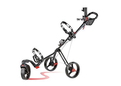 Caddytek SuperLite Deluxe 3 Wheel Golf Push Cart with Swivel Front Wheel- Black