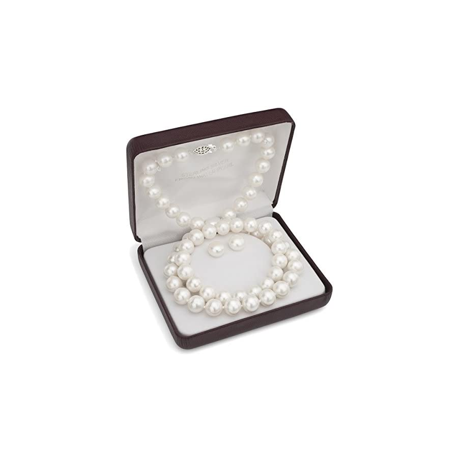 Sterling Silver 10 10.5mm White Freshwater Cultured Pearl Necklace, Stretch Bracelet & Stud Earrings