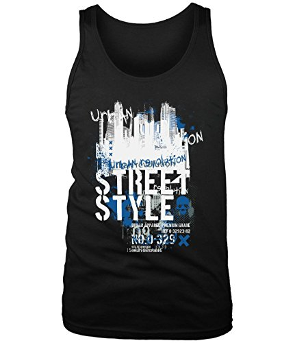 Crossing Men Building Street Style Graffiti Graphic Text Tank Top black