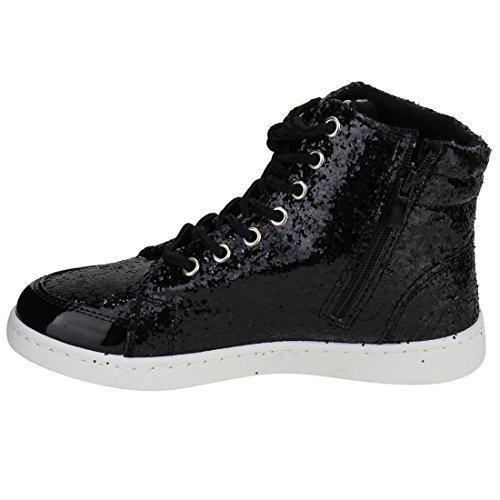 Forever Link Womens Hi Top Glitter Sneakers, Black 5 by Forever Link