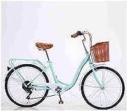 WOFACAI 24 Inch 26 Inch Wheels Beach Cruiser Bike, 7-Speed Step-Through Hybrid Cruiser Bicycle with Rear Rack,