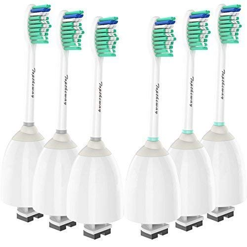 (Toptheway Replacement Brush Heads Compatible with Sonicare E-Series Toothbrush HX7022/66, Fit Sonicare Essence, Xtreme, Elite, Advance and CleanCare Screw-On Handles, 6 Pack)