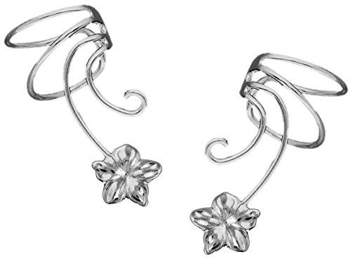(Plumeria Flower Pair Sterling Silver Non-pierced Wave Ear Cuff Earrings)