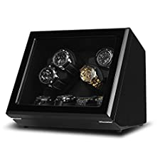 Excelvan JW-C003 4+4 Automatic Watch Winder in Black Leather Wooden Box Piano Paint with 4 Rotation Modes