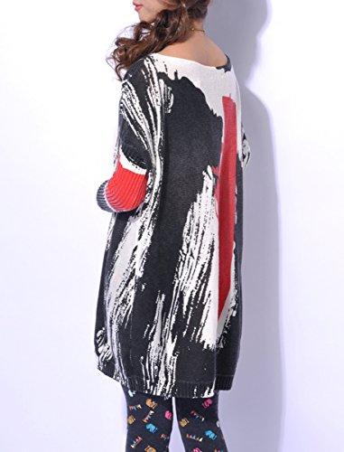 ELLAZHU Imprim Femme Pull Lache Robe Tricot xFqvP