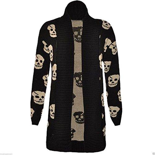 Black Skull Sweater (Womens Skull Cardigan Granded Boyfriend SweaterCardigan-SKULL-SM)