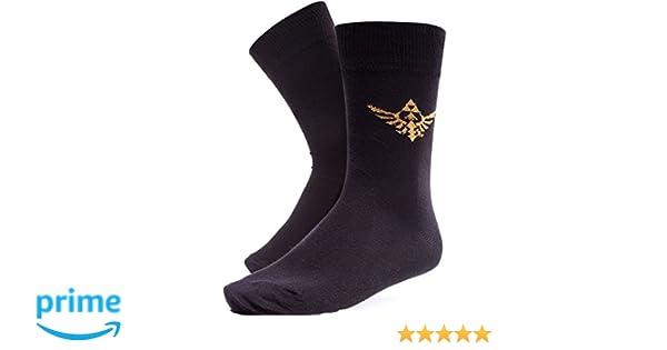 Nintendo leyenda de zelda bordado Royal Crest calcetines de diseño negro: Amazon.es: Ropa y accesorios