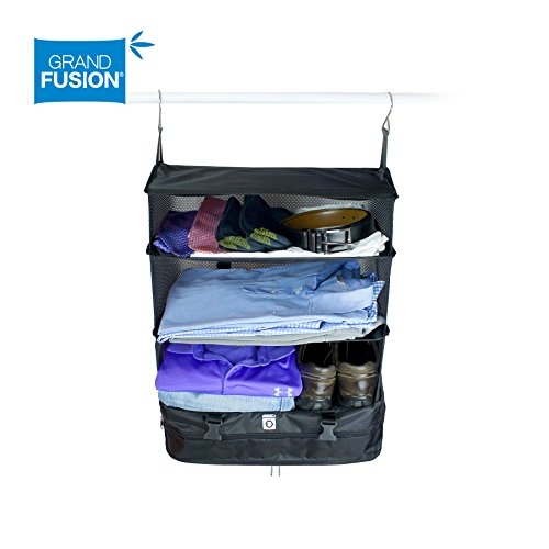 Stow-N-Go Portable Luggage System - Large - Black, Packable Hanging Travel Shelves and Packing Cube Organizer