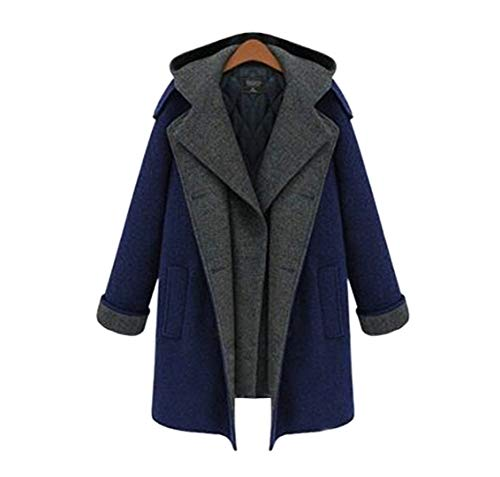 Imzoeyff Manteau Long Manteau des Femmes, Automne Et Hiver paississement Faux Deux Manteau en Laine Mis  La Mode Sauvage,L
