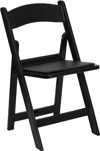 HERCULES Series 1000 lb. Capacity Black Resin Folding Chair with Black Vinyl Padded Seat LE-L-1-BLACK-GG