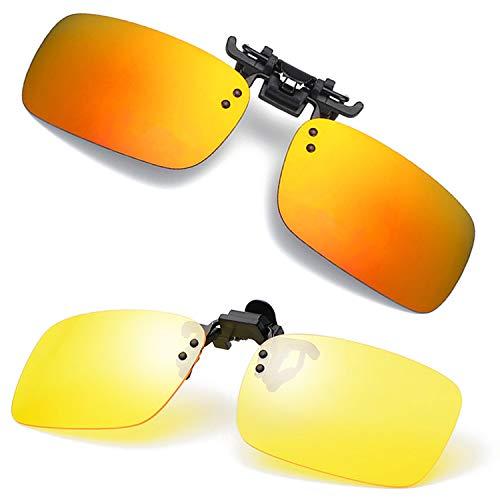 Polarized Flip Up Clip-on Sunglasses Unisex Anti-Glare Driving Glasses With Flip Up Over Prescription Glasses (Orange Red-Yellow-2)