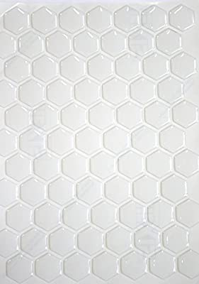 Capricornone Design your own 3D Resin Domed Gel Tank Pad 70 Hexagon Decal set White