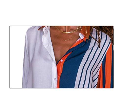Camicetta Camicia Elegante V Chiffon Aranmei Arancia Manica s Donna Lunga xxl Blusa Scollo XqIwEE5z