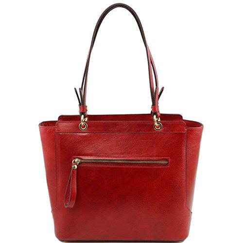 Tuscany Leather TL NeoClassic Borsa shopper in pelle con doppi manici Talpa scuro Rosso