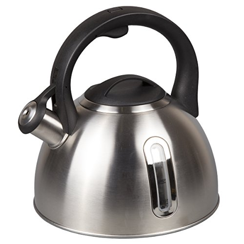 Creative Home 72248 2.4 Qt. Stainless Steel Whistling Tea Kettle with Capsulated Bottom Clear Measuring Window, Quart, Brushed Finish