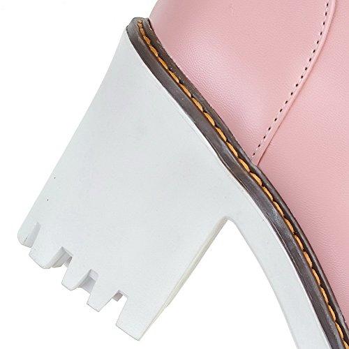 Allhqfashion Stivaletti Donna Con Tacco Basso In Morbido Materiale Assortito Colore Rosa