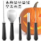 Cheap Halloween Pumpkin Carving Kit, 5 Piece Tool Pumpkin Carving Tools Stainless Steel with 10 Pieces Halloween Pumpkin Carved Stickers for Halloween Party