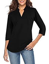 Women's 3/4 Sleeve V Neck Tops Casual Tunic Blouse Loose Shirt