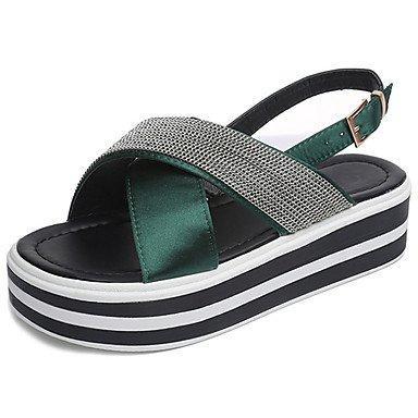 Talons cm Chaussures Boucle Marche Confort Vert Femme 5 Gomme de LvYuan Noir Confort Heel green Block ggx Eté à 2 Moins ABnHxIq