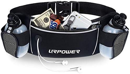 URPOWER ランニングベルト 多機能ジッパーポケット 防水ウエストバッグ ブラック