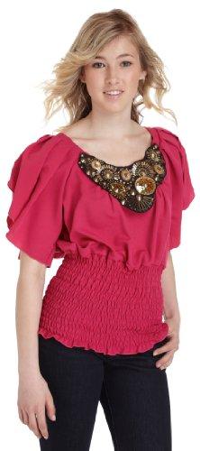XOXO  Juniors Embellished Flutter Sleeve Top,Fuchsia,Medium