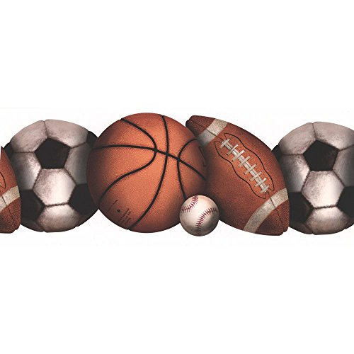 York Wallcoverings BH1759B Border Portfolio-2 Let's Play Ball Border, Brown/White
