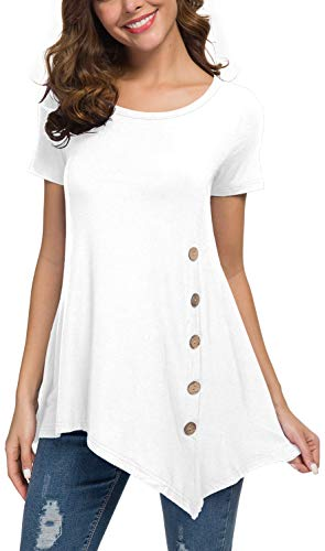 VIISHOW Women's Short Sleeve Scoop Neck Button Side T Shirts Loose Fitting Tunic Solid Color Tops Blouse