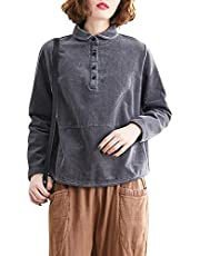 Baugger Vintage Women Corduroy Blouse Solid Color Turn-Down Collar Long Sleeve Button Loose Casual Shirt Top