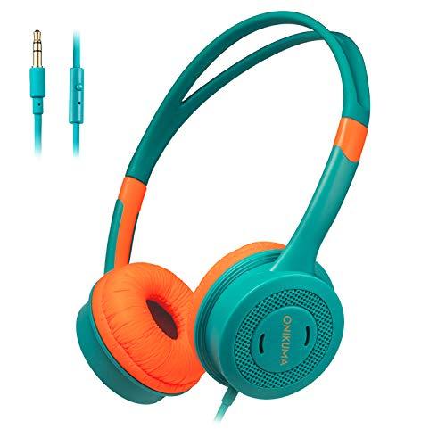 Kids Headphones, STOON 3.5mm Jack Wired Cord On-Ear Headset for Kids Boys Girls Teens, Lightweight Headset Over Ear for School Travel Kindle Tablet, 85dB Volume Limited, Orange/Green