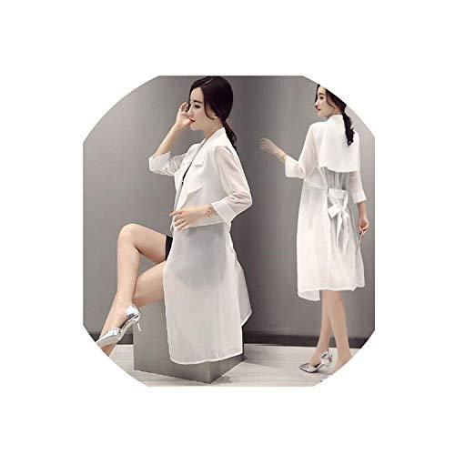 Women Sun Protection Clothing Women Long Cardigan Thin Section Chiffon Shawl Sun Protection Clothing,White,XXXL