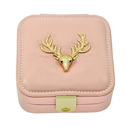 Faux Leather Golden Deer Elk Antlers Embroidered Jewelry Gift Box with Snap Closure, - Antler Faux Elk