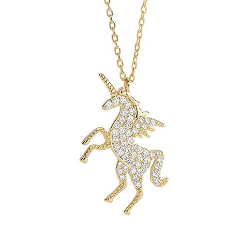 URDEAR 925 Sterling Silver Gold Plated Unicorn Pendant Necklace Gorgeous Horse Jewelry Ornaments Unicorn Charms Pendant Necklace Gifts for Women Girls (Unicorn Pendant Necklace)