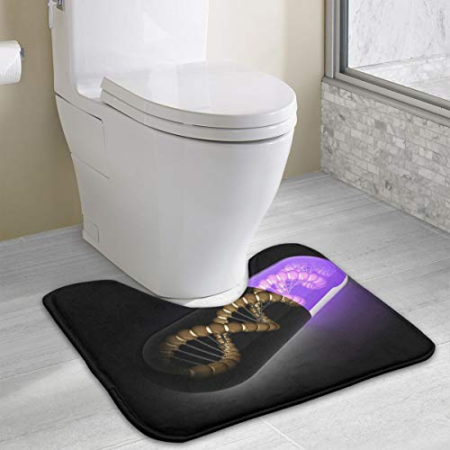 FTRGRAFE 3D Black Purple Pill Contour Bath Rug, U-Shaped Polyester Toilet Floor Mat Non Slip Bathroom Shower Carpet