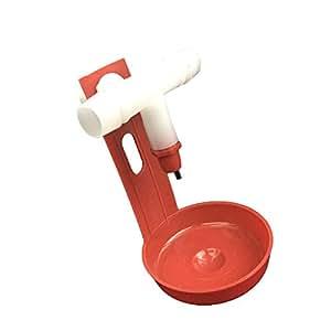 Adherirse a volar 5pcs aves agua potable vasos mangueras de conexión pezón bebedor de pollo gallina feeder, Red+White