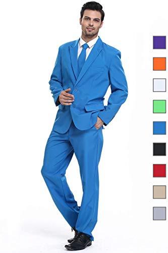 (U LOOK UGLY TODAY Men's Party Suit Blue Solid Color Bachelor Party Suit)