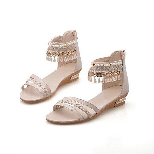 AalarDom Mujer Puntera Abierta Mini Tacón Material Suave Cremallera Sandalias de vestir Beige