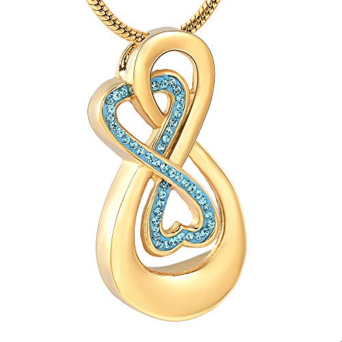 Infinity Love Urn Pendant Stainless Steel Snake Chain Cremation Jewellery for Ashes for Woman Free Filling Tools Include (Gold, Blue)