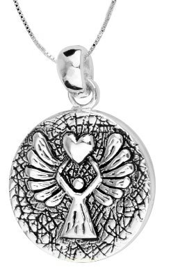 Guardian Angel Protect Me Wherever I go and Keep Me From Harm Sterling Silver Heart Shaped Necklace 733eB
