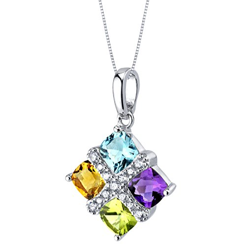 Multi Cut Cluster - Amethyst Peridot Citrine Blue Topaz Quad Pendant Necklace in Sterling Silver