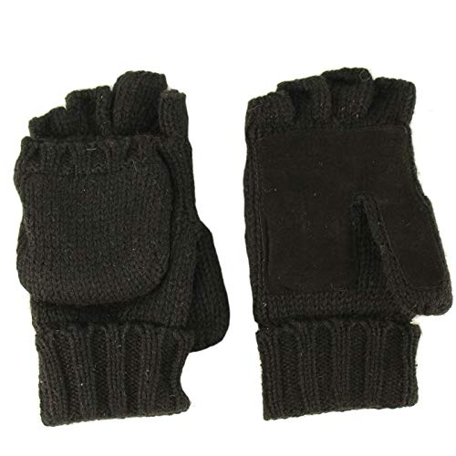 Men's Thinsulate 3M Thick Wool Knitted Half Mitten Suede Palm Gloves L/XL Black (Gloves Fingerless Mittens)