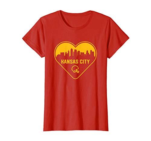Womens Cute I Love Kansas City Football Heart City Skyline T-Shirt