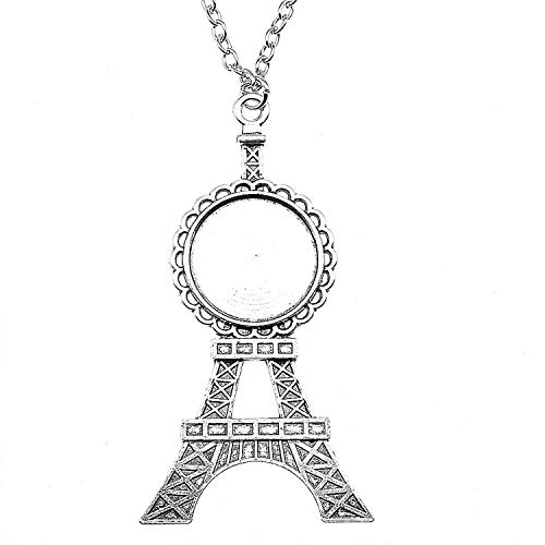 xinchengquzhihao 2pcs Round Inner Size 20mm Tower Style Cameo Cabochon Base Pendant Necklace,Antique Silver Plated,70 cm