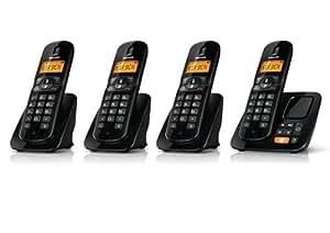 Philips CD1864B/FR - 4 teléfonos fijos inalámbricos DECT/GAP con contestador, color negro