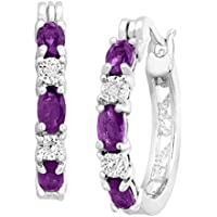 Finecraft 1 3/8 ct Natural Amethyst Hoop Earrings with Diamonds in Platinum-Plated Brass