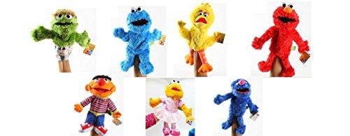 Sesame Street Plush Puppet Set : 7 pc set Elmo, Cookie Monster, Zoe, Oscar Grouch, Big Bird, Grover and Ernie ()