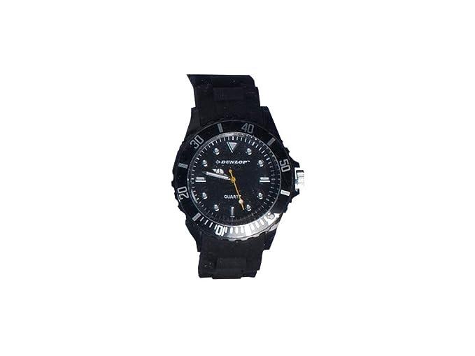 Dunlop – Trendy Mujer Reloj – Silicon Negra Pulsera – Bombilla de mordida Moderno Reloj